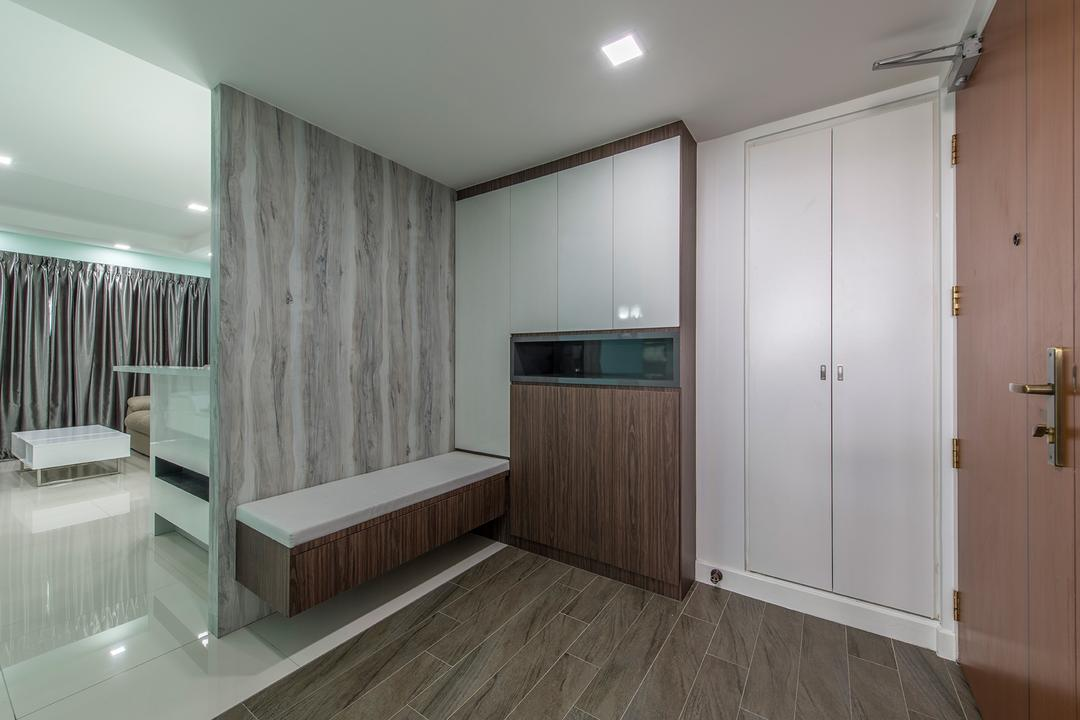 Fernvale Link, Ace Space Design, Transitional, HDB, Shoe Cabinet, Cabinetry, Door, Entrance, Cabinets