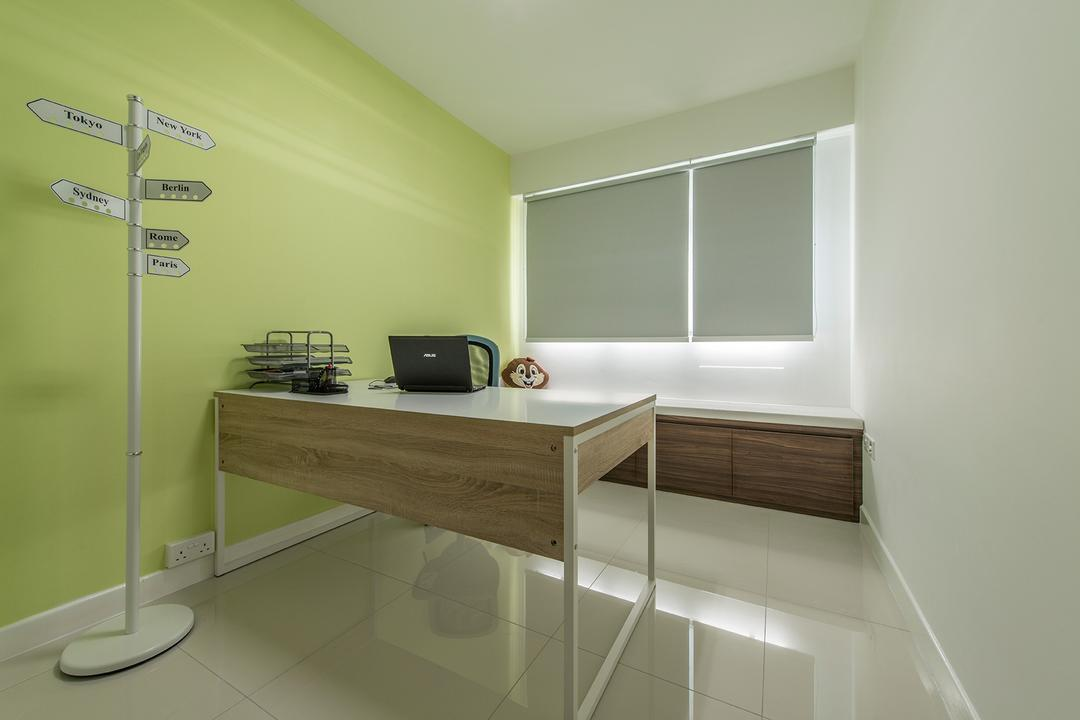 Fernvale Link, Ace Space Design, Transitional, Study, HDB, Study Table, Computer Desk, Workstation, Blinds, Roller Blinds, Yellow, Yellow Wall, Striking Colours, Indoors, Interior Design