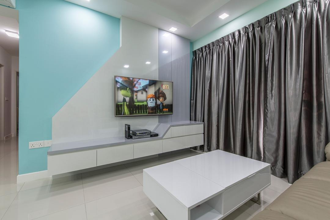 Fernvale Link, Ace Space Design, Transitional, Living Room, HDB, Tv, Tv Console, Tv Cabinet, Floating Console, Coffee Table, Blue, Blue Wall, Curtains, Mint Green