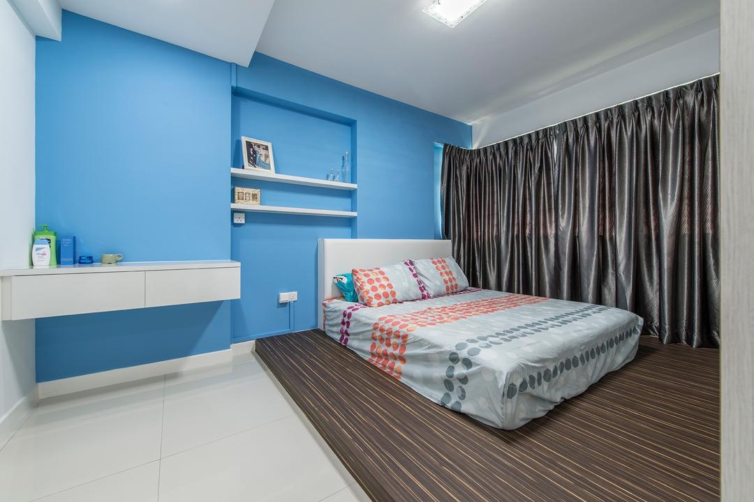 Fernvale Link, Ace Space Design, Transitional, Bedroom, HDB, Platform, Bed, Headboard, Blue, Blue Walls, Shelves, Floating Shelves, Wall Shelf, Curtains, Furniture, Indoors, Interior Design, Room