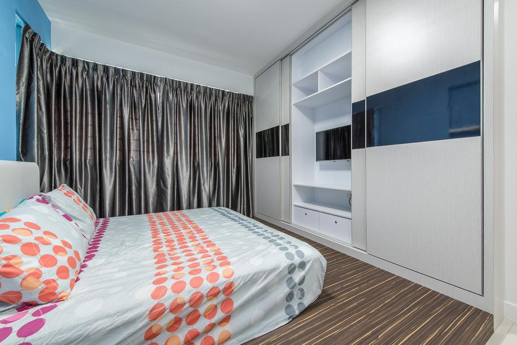 Transitional, HDB, Bedroom, Fernvale Link, Interior Designer, Ace Space Design, Platform, Curtains, Cabinetry, Tv, Cabinets, Storage, Storage Space, Bed, Furniture, Indoors, Interior Design, Room