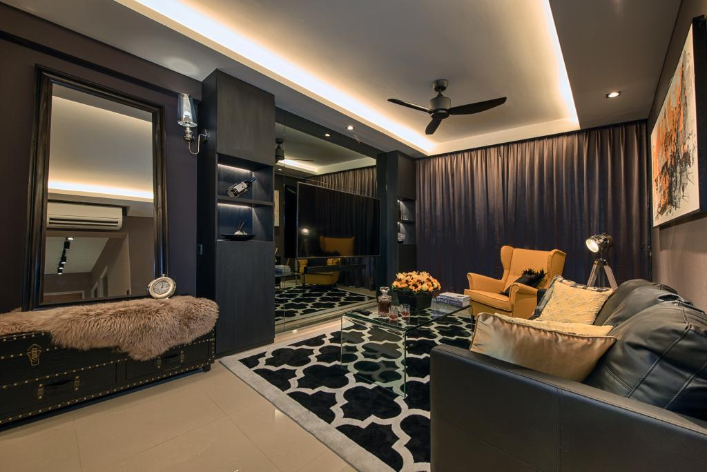 Contemporary, HDB, Living Room, Waterway Brooks, Interior Designer, Mr Shopper Studio, Cove Lighting, Dark, Expressive, Moody, Pop Of Colours, Black, Black Ceiling Fan, Leather Sofa, Yellow Armchair, Couch, Furniture, Indoors, Interior Design, Bed
