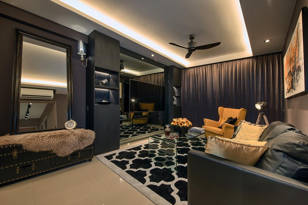 Waterway Brooks, Mr Shopper Studio, Contemporary, Living Room, HDB, Cove Lighting, Dark, Expressive, Moody, Pop Of Colours, Black, Black Ceiling Fan, Leather Sofa, Yellow Armchair, Couch, Furniture, Indoors, Interior Design, Bed