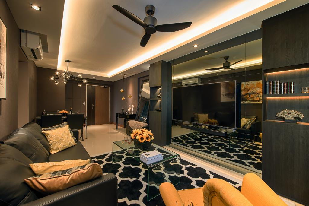 Contemporary, HDB, Living Room, Waterway Brooks, Interior Designer, Mr Shopper Studio, Wall Mirror, Mirror Panel, Cove Lighting, Ceiling Lighting, Entrance, Coffee Table, Transparent Table, Couch, Furniture, Electronics, Monitor, Screen, Tv, Television