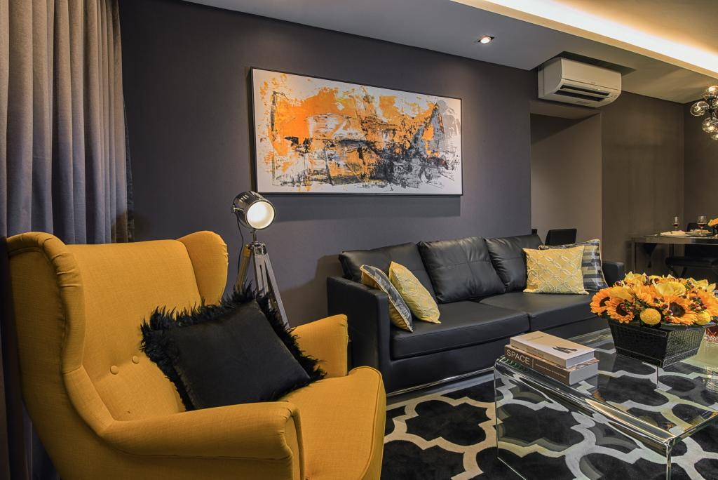Contemporary, HDB, Living Room, Waterway Brooks, Interior Designer, Mr Shopper Studio, Yellow Armchair, Area Rug, Vintage Floor Lamp, Floor Lamp, Couch, Furniture, Electronics, Entertainment Center, Home Theater, Flora, Jar, Plant, Potted Plant, Pottery, Vase