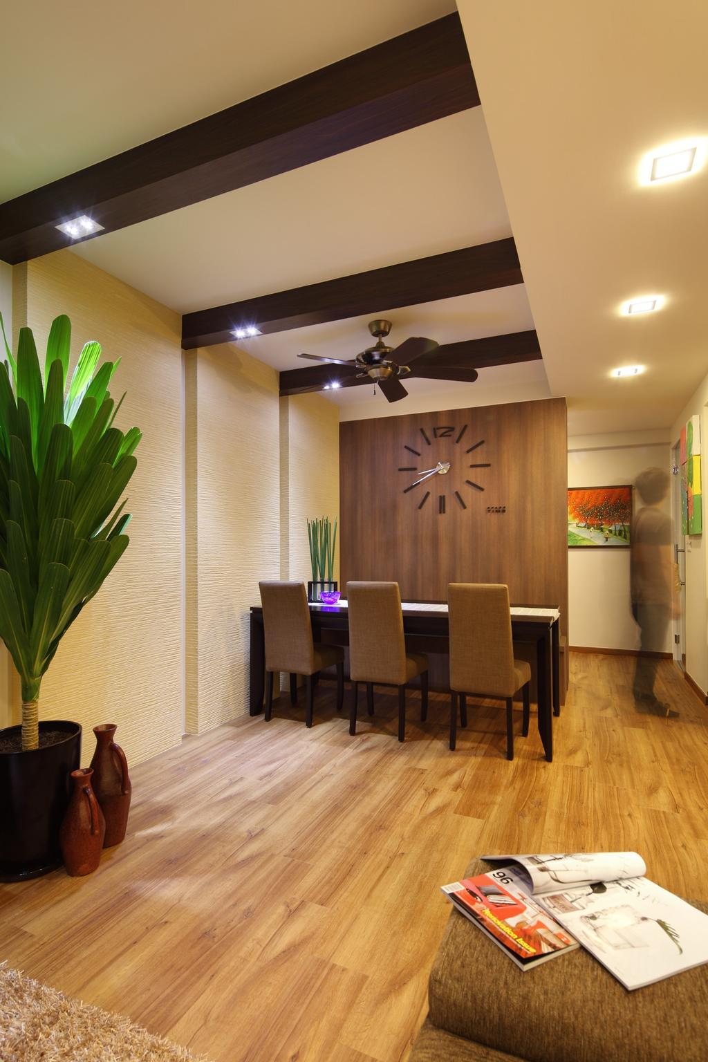 Traditional, HDB, Dining Room, Havelock Road, Interior Designer, Space Define Interior, Parquet, Stacco Wall, Raw, Balinese, Ceiling Beams, False Ceiling, Recessed Lighting, Indented Lighting, Chair, Dining Table, Painting, Sculpture, Clock, Ceiling Fan, Parquet Wall, Wood Laminate, Wood, Laminate, Flora, Jar, Plant, Potted Plant, Pottery, Vase, Couch, Furniture, Table, Indoors, Interior Design, Room, Pot