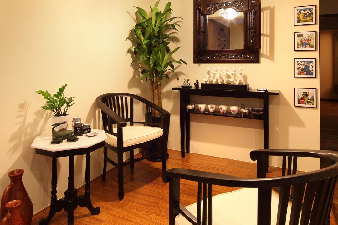 Havelock Road, Space Define Interior, Traditional, HDB, Sculpture, Ornaments, Balinese, Hanging Light, Pendant Light, Lighting, Side Table, Display Shelf, Table, Plants, Mirror, Painting, Chair, Furniture, Flora, Jar, Plant, Potted Plant, Pottery, Vase, Dining Room, Indoors, Interior Design, Room, Dining Table, Banister, Handrail, Art, Blossom, Flower, Flower Arrangement, Ikebana, Ornament