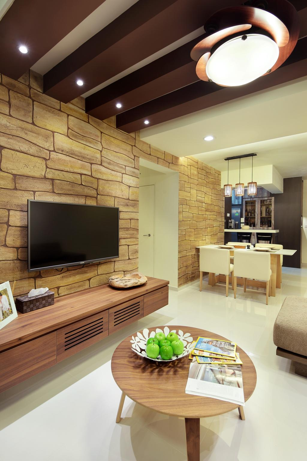 Contemporary, HDB, Living Room, Punggol Central, Interior Designer, Space Define Interior, Ceiling Beams, Tv Console, Coffee Table, Table, Wood Laminate, Woodwork, Wood, Laminate, Brick Wall, Wallpaper, Hanging Light, Pendant Light, Lighting, Neutral Tones, Dining Table, Furniture, Fireplace, Hearth