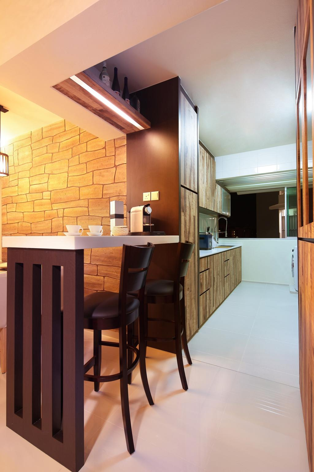 Contemporary, HDB, Kitchen, Punggol Central, Interior Designer, Space Define Interior, Chair, Wood, Laminate, Wood Laminate, Kitchen Counter, Linear, Table, Furniture, Brick