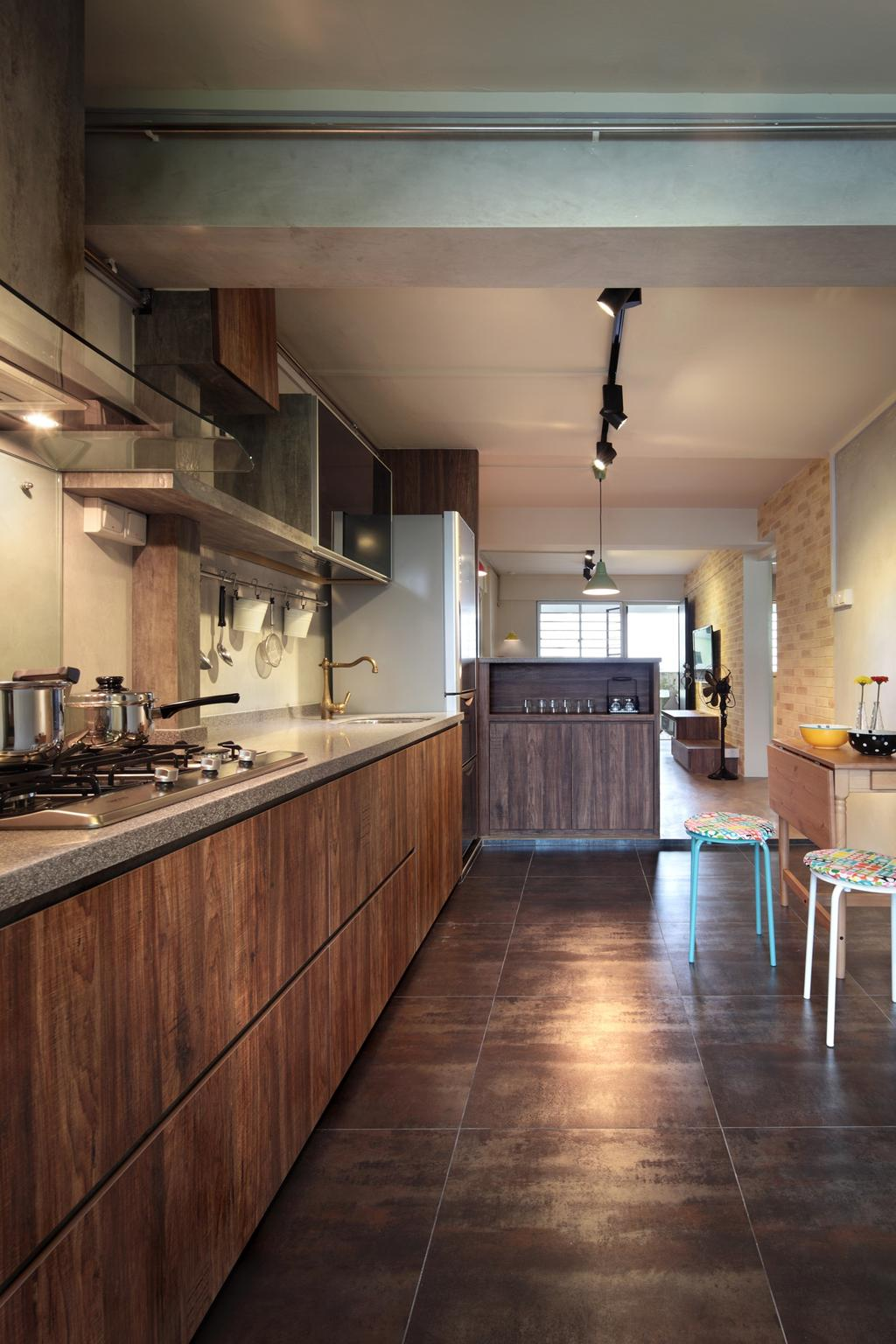 Scandinavian, HDB, Kitchen, Marine Crescent, Interior Designer, Space Define Interior, Rustic, Track Lighting, Stools, Chair, Table, Kitchen Counter, Cabinet, Wood Laminate, Indoors, Interior Design, Room, Appliance, Electrical Device, Oven, Bar Stool, Furniture, Flooring