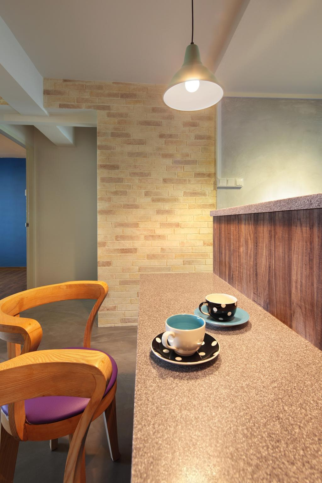 Scandinavian, HDB, Dining Room, Marine Crescent, Interior Designer, Space Define Interior, Bar Coounter, Barstools, Chair, Table, Wood Laminate, Wood, Laminate, Brick Wall, Raw, Hanging Light, Lighting, Furniture, Coffee Cup, Cup, Pottery, Saucer