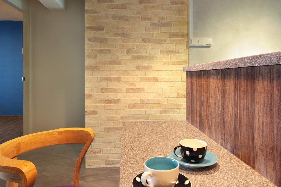 Marine Crescent, Space Define Interior, Scandinavian, Dining Room, HDB, Bar Coounter, Barstools, Chair, Table, Wood Laminate, Wood, Laminate, Brick Wall, Raw, Hanging Light, Lighting, Furniture, Coffee Cup, Cup, Pottery, Saucer