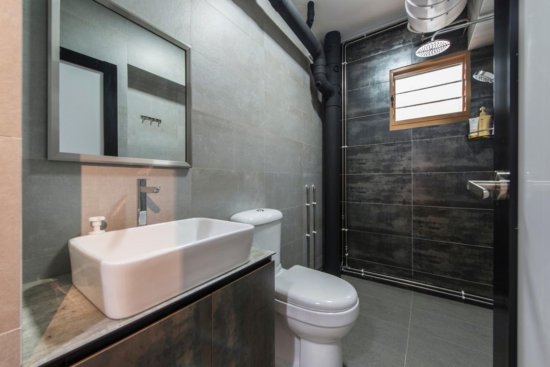 Anchorvale Link (Block 318C), Chapter One Interior Design, Industrial, Bathroom, HDB, Tiles, Dark Brown Tiles, Water Closet, Vanity Sink, Countertop, Indoors, Interior Design, Room