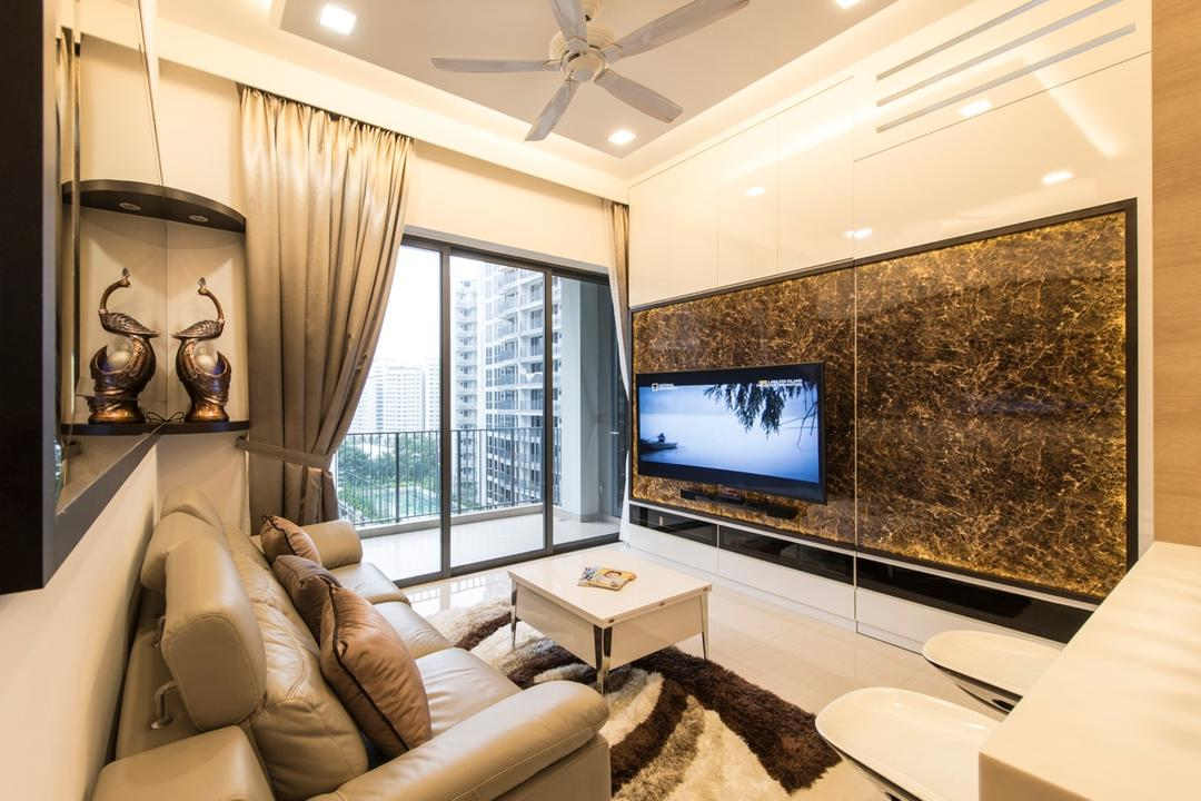 Boathouse Residences, Space Define Interior, Modern, Living Room, Condo, Hidden Door, Concealed Door, Sliding Door, White And Brown, Marble Panel, Reflective Surfaces, Couch, Furniture, Indoors, Interior Design