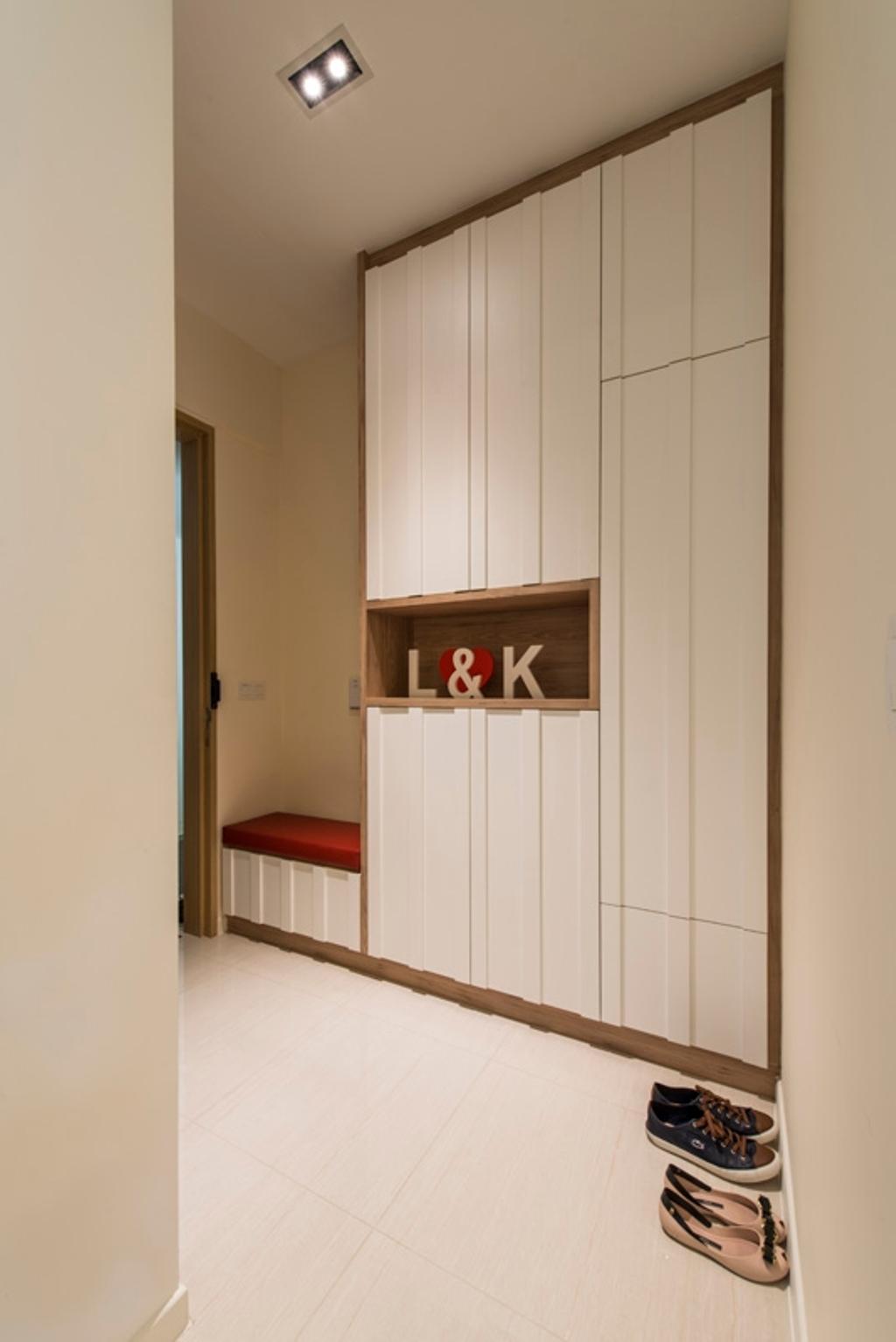 Modern, Condo, Boathouse Residences, Interior Designer, Space Define Interior, Hallway, Shoe Cabinet, Shoe Storage, White Tall Cabinet, Entrance, Doorway, Walkway, Shelf, Furniture, Sideboard