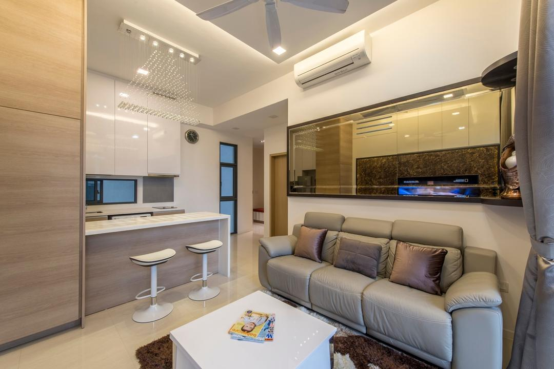 Boathouse Residences, Space Define Interior, Modern, Living Room, Condo, Small Space, Small Place, Small Size, Small Home, Wall Mirror, Leather Sofa, Compact, Coffee Table, Shades Of Brown, White Track Lights, Dry Kitchen, Couch, Furniture, Indoors, Interior Design
