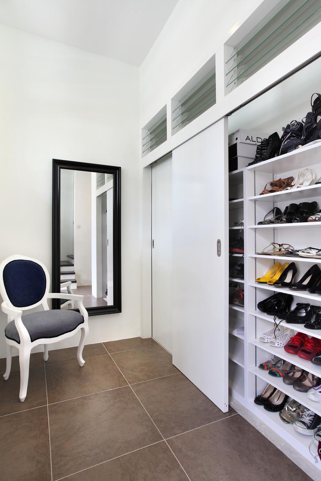 Modern, Landed, 259 Tembeling Road, Interior Designer, Space Define Interior, Armchair, Mirror, Shoe Rack, Cabinet, Storage, Tile, Tiles, Shelf, Shelves, White, Chair, Furniture, Clothing, Footwear, Shoe, Asleep