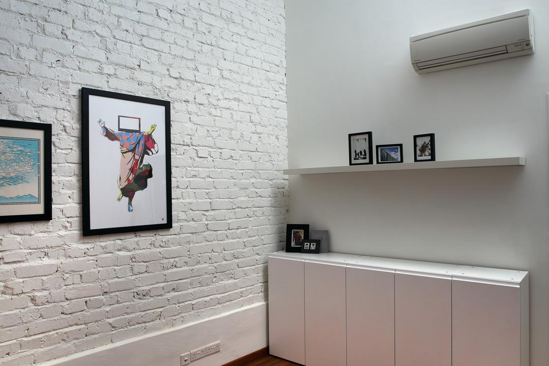 259 Tembeling Road, Space Define Interior, Modern, Landed, Brick Wall, White Brick Wall, Whitewashed Brick, Parquet, Painting, Cabinet, Shelf, Display Shelf, Window Shutters, Shutters, Raw, Minimalistic, Slanted Ceiling