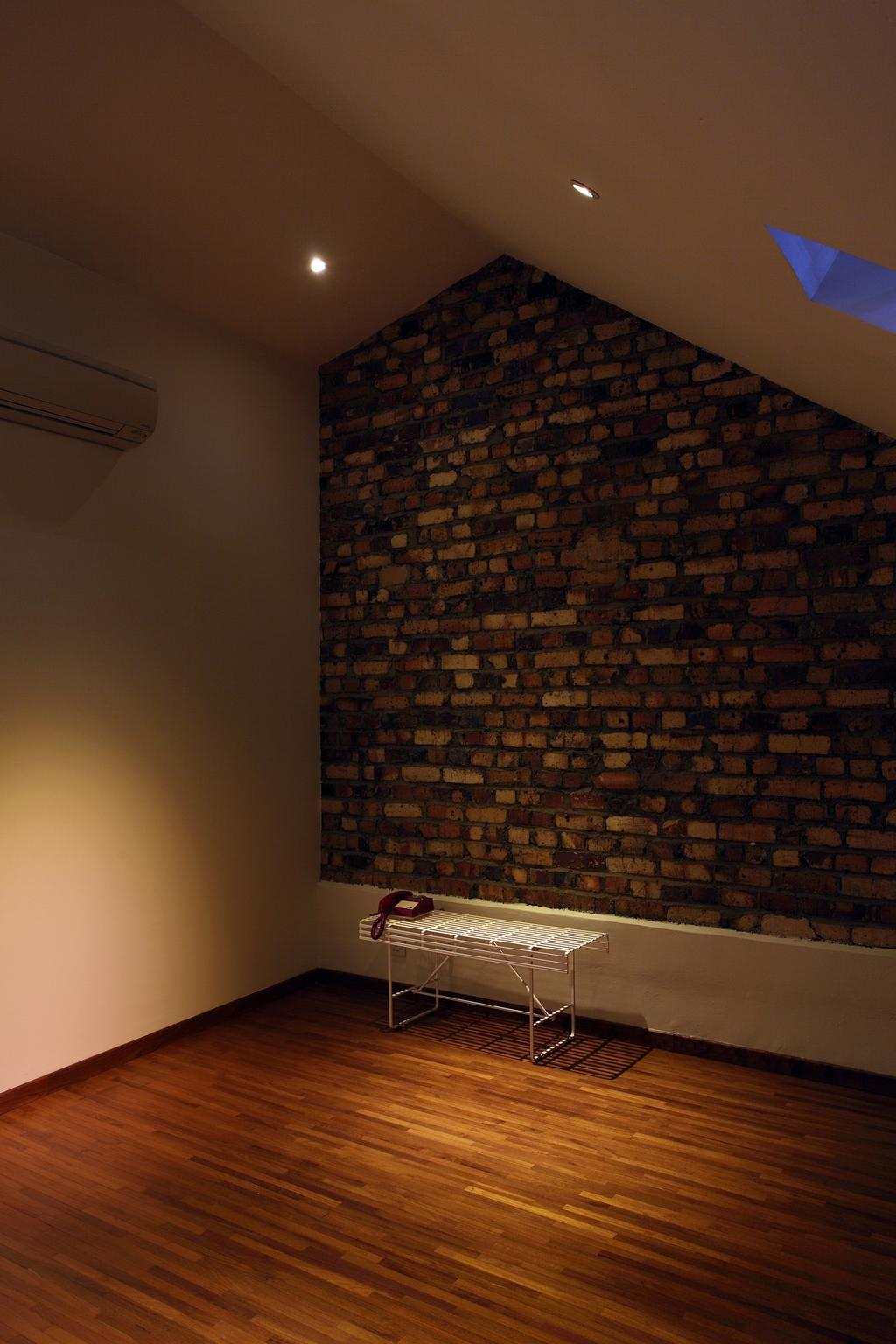 Modern, Landed, 259 Tembeling Road, Interior Designer, Space Define Interior, Brick Wall, Raw, Bench, Chair, Minimalist, Slanted Ceiling, Parquet