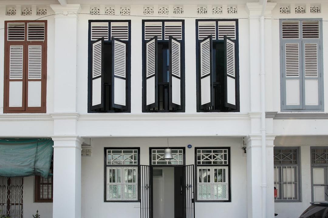 259 Tembeling Road, Space Define Interior, Modern, Landed, Shophouse, Exterior, Outdoors, Full Length Windows, Window Shutters, Shutters, White, Black, Monochrome, Oriental, Awning, Canopy, Window, Curtain, Home Decor, Shutter, Window Shade