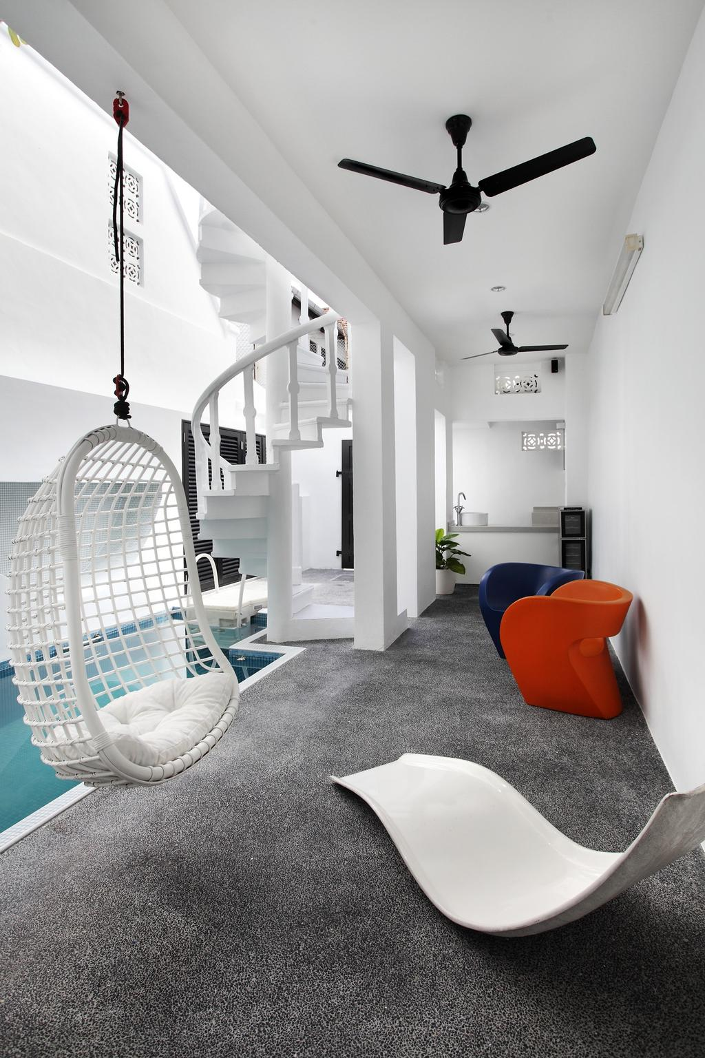 Modern, Landed, Balcony, 259 Tembeling Road, Interior Designer, Space Define Interior, Gravel, Chair, Hanging Chair, Ceiling Fan, Black, White, Monochrome, Swimming Pool, Stairs, Spiral Staircase, Woven, Outdoors, Columns, Furniture