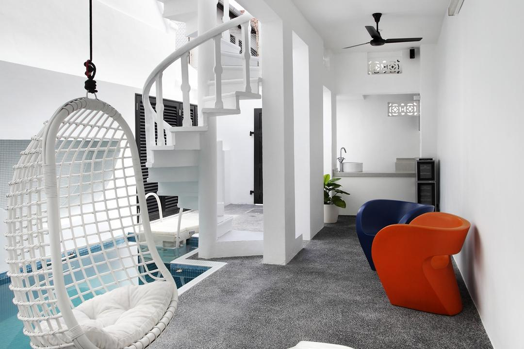 259 Tembeling Road, Space Define Interior, Modern, Balcony, Landed, Gravel, Chair, Hanging Chair, Ceiling Fan, Black, White, Monochrome, Swimming Pool, Stairs, Spiral Staircase, Woven, Outdoors, Columns, Furniture