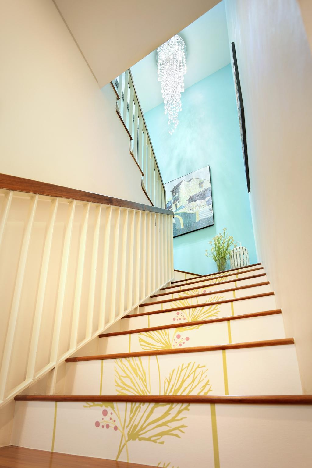 Contemporary, Condo, 56 St Patrick Road, Interior Designer, Space Define Interior, High Ceiling, Stairs, Staircase, Chandelier, Blue, Railing, Handrails, Plants, Wallpaper, Floral, Floral Wallpaper, Nature, Nature Wallpaper, Parquet, Balcony, Banister, Handrail