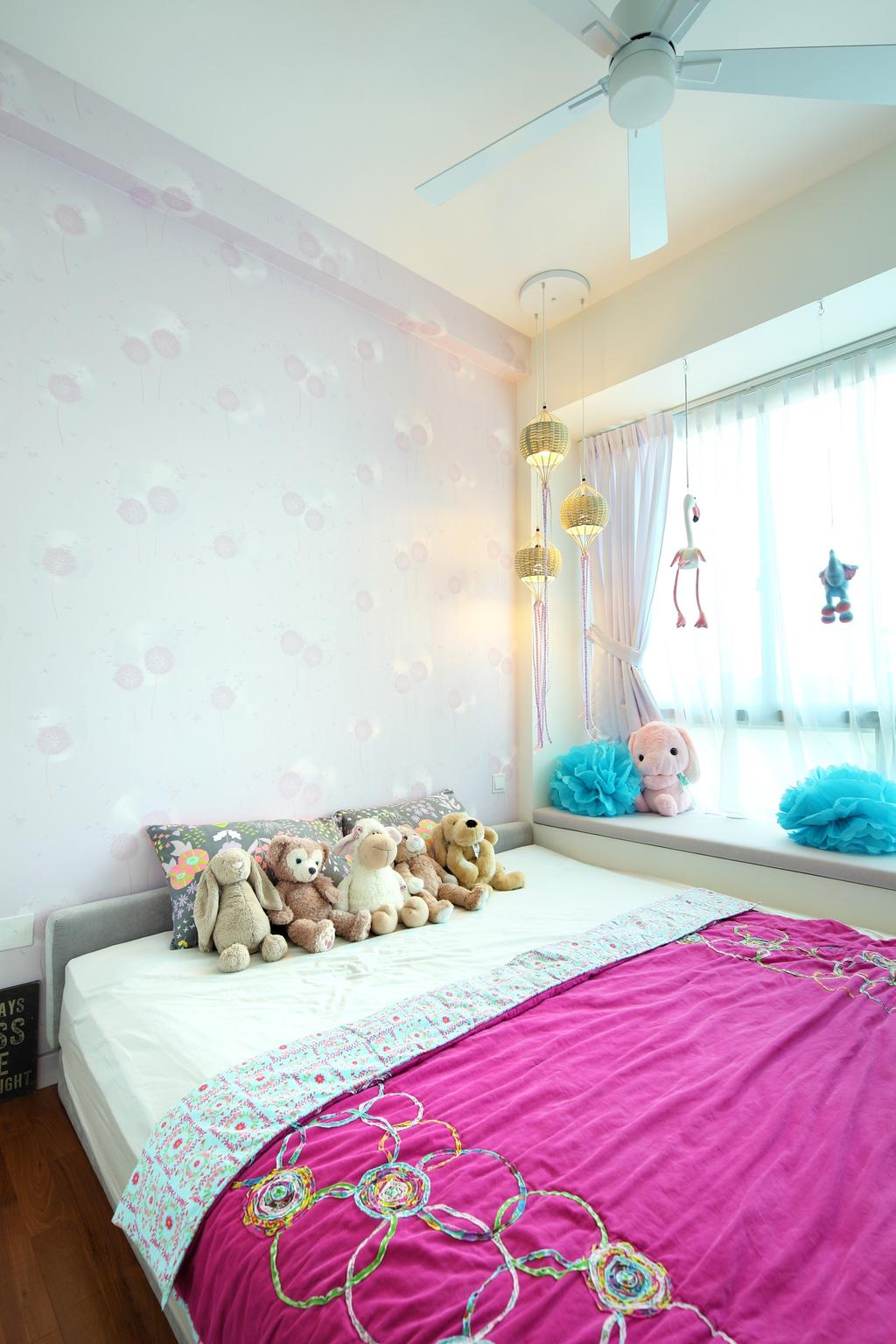 Contemporary, Condo, Bedroom, 56 St Patrick Road, Interior Designer, Space Define Interior, Wallpaper, Pink, Kids, Kids Room, Window Seat, Floral Wallpaper, Nature Wallpaper, Floral, Nature, Curtains, Pendant Light, Hanging Light, Lighting, Ceiling Fan, Teddy Bear, Toy, Indoors, Nursery, Room