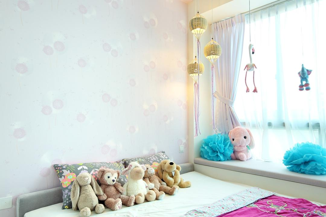 56 St Patrick Road, Space Define Interior, Contemporary, Bedroom, Condo, Wallpaper, Pink, Kids, Kids Room, Window Seat, Floral Wallpaper, Nature Wallpaper, Floral, Nature, Curtains, Pendant Light, Hanging Light, Lighting, Ceiling Fan, Teddy Bear, Toy, Indoors, Nursery, Room