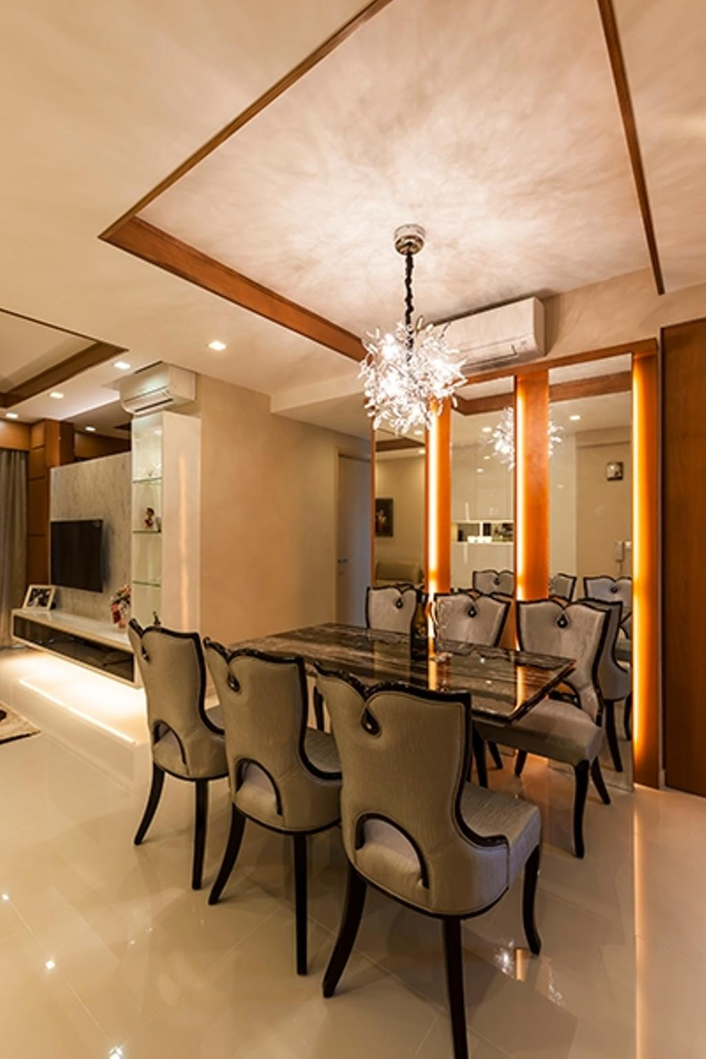 Modern, Condo, Dining Room, Esparina Residences, Interior Designer, Tan Studio, Dining Table, Dining Chairs, Chandelier, False Ceiling, Expensive, Mirrors, Warm Lightings, Aircon, Shiny, Luggage, Suitcase, Indoors, Room, Sink