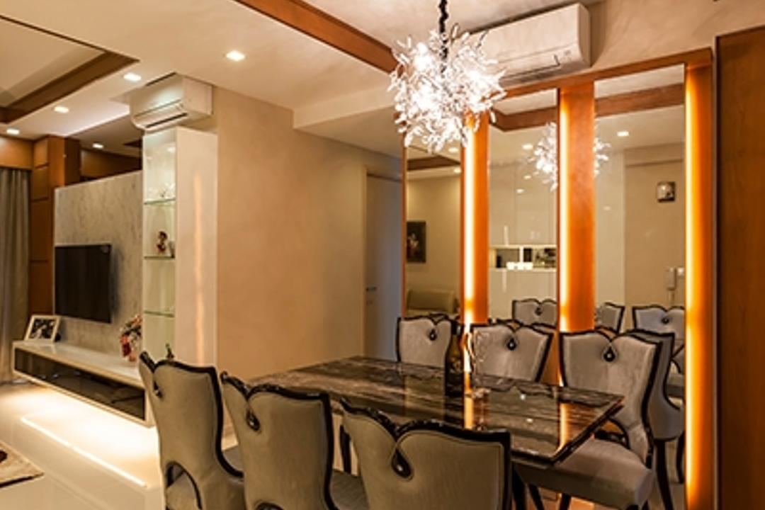 Esparina Residences, Tan Studio, Modern, Dining Room, Condo, Dining Table, Dining Chairs, Chandelier, False Ceiling, Expensive, Mirrors, Warm Lightings, Aircon, Shiny, Luggage, Suitcase, Indoors, Room, Sink