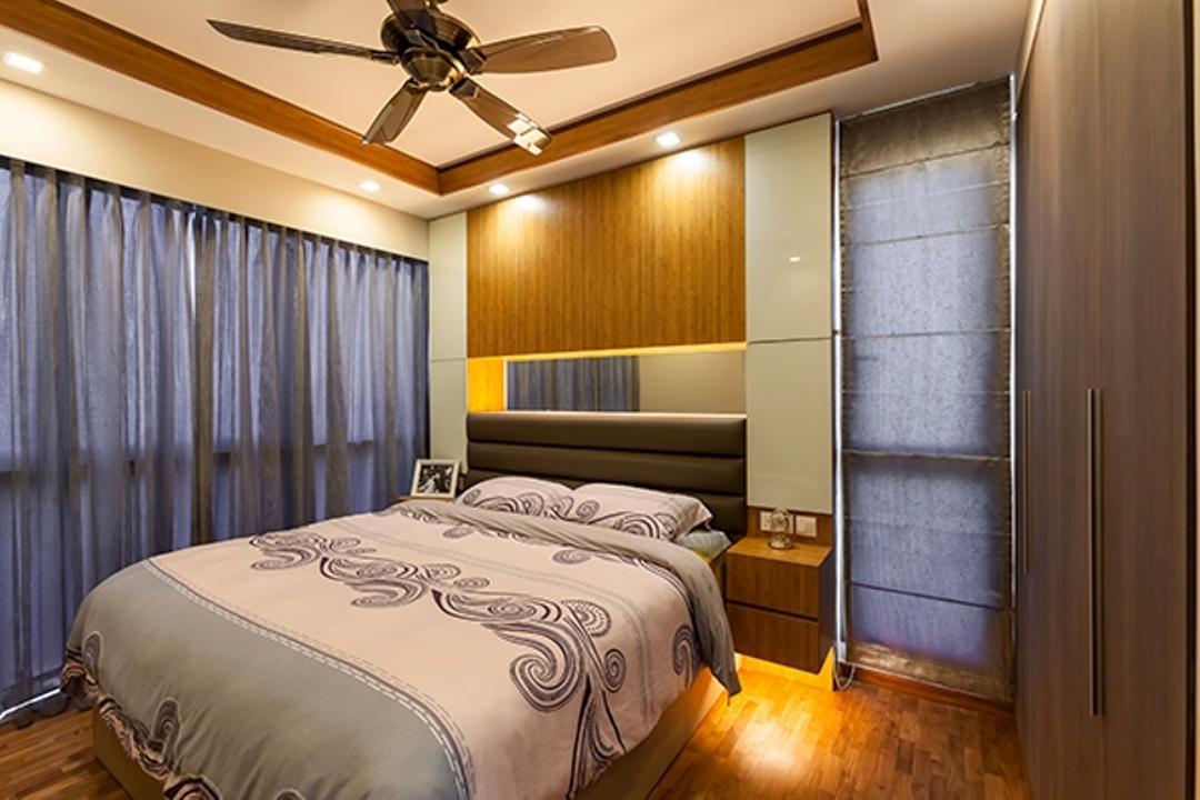 Esparina Residences, Tan Studio, Modern, Bedroom, Condo, False Ceiling, Headboard, Feature Wall, Bedside Table, Floating Bedside Table, Blinds, Curtains, Wood, Mirror, Mirror Panels, Reflective Panels, Indoors, Room, Bed, Furniture