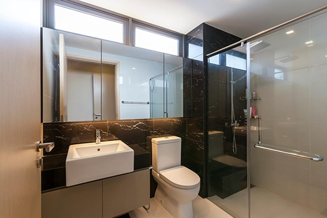 Esparina Residences, Tan Studio, Modern, Bathroom, Condo, Toilet Bowl, Water Closet, Bathroom Vanity, Mirror, Bathroom Cabinet, Sink, Bathroom Sink, Marble, Black Marble, Shower Screen, Shower Door, Shower Area, Indoors, Interior Design, Room, Toilet