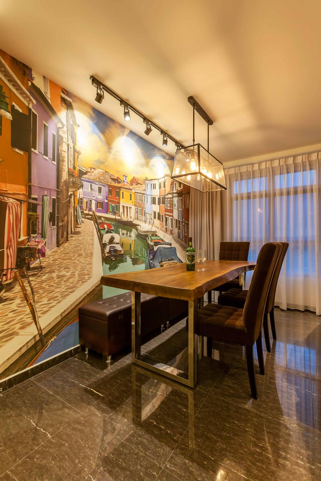 Modern, HDB, Dining Room, Fernvale Link, Interior Designer, Tan Studio, Industrial Style Lamp, Exposed Bulb, Wallpaper, Dining Table, Wood, Dining Chairs, Bench, Track Lights, Track Lighting, Chair, Furniture, Table, Indoors, Interior Design, Room