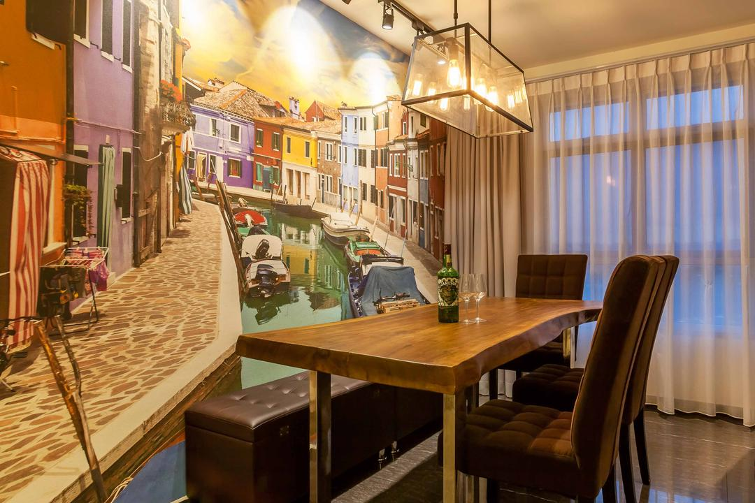 Fernvale Link, Tan Studio, Modern, Dining Room, HDB, Industrial Style Lamp, Exposed Bulb, Wallpaper, Dining Table, Wood, Dining Chairs, Bench, Track Lights, Track Lighting, Chair, Furniture, Table, Indoors, Interior Design, Room