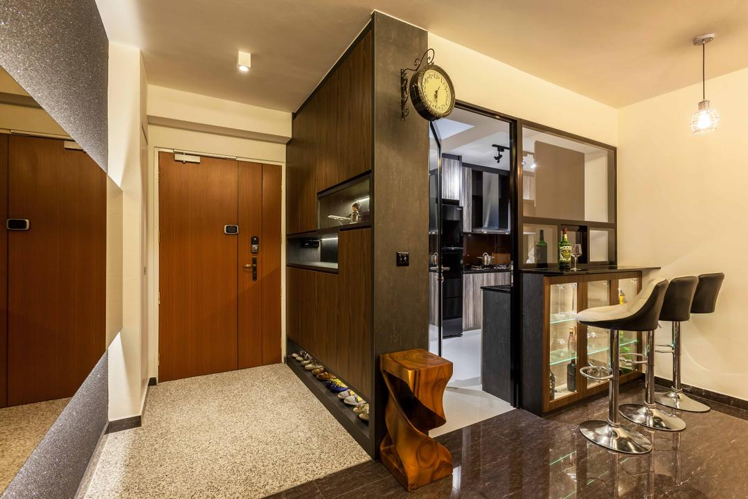 Fernvale Link, Tan Studio, Modern, Kitchen, HDB, Cabinet, Shoe Cabinet, Cabinetry, Door, Entrance, Bar, Bar Countertop, Bar Stools, High Stools, Stools, Glass Partition, Clock, Chair, Furniture
