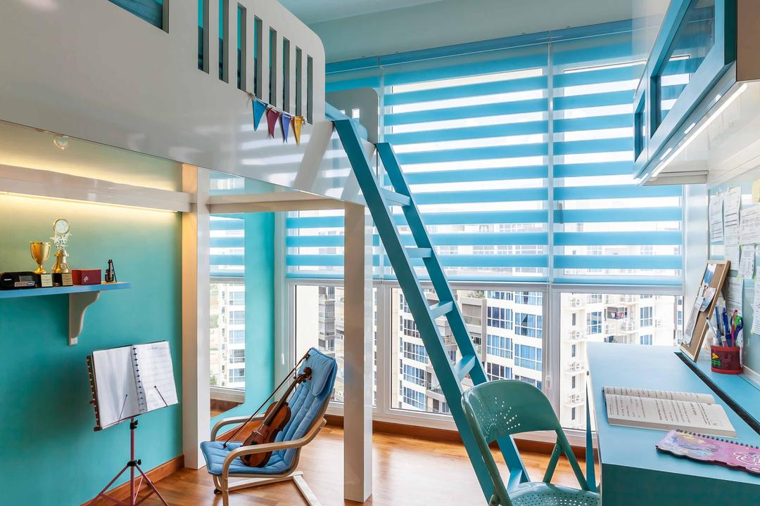 Trilliant, Tan Studio, Modern, Study, Condo, Blue, Turquoise, Blinds, Korean Blinds, Ladder, Bunk Bed, Wood Floor, Wooden Flooring, Colourful, Colours, Bright Colours, Study Table, Chair, Concealed Lighting, Ceiling Fan With Light, Music, Music Room, Furniture, Slide, Toy, Indoors, Interior Design