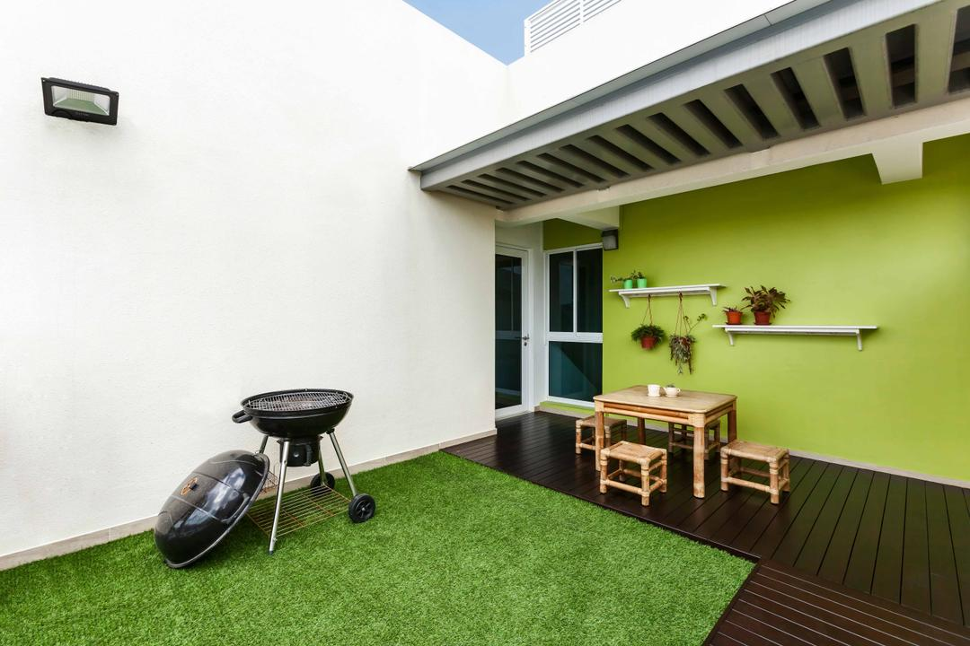 Trilliant, Tan Studio, Modern, Balcony, Condo, Bbq, Barbeque, Barbeque Pit, Bbq Pit, Balcony Furniture, Woody, Woody Furniture, Grass, Plants, Plant Hanger, Floating Wall Shelf, Building, House, Housing, Villa, Dining Room, Indoors, Interior Design, Room
