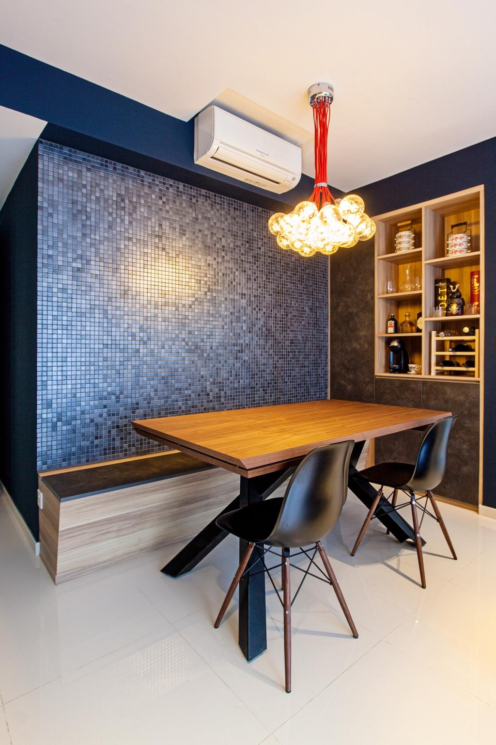 Contemporary, Condo, Dining Room, Twin Waterfalls, Interior Designer, Third Avenue Studio, Mosaic Wall, Blue Mosaic, Pendant Lamp, Bench, Wall Bench, Settee, Dining Set, Wooden Dining Table, Chair, Furniture, Dining Table, Table, Indoors, Interior Design, Room