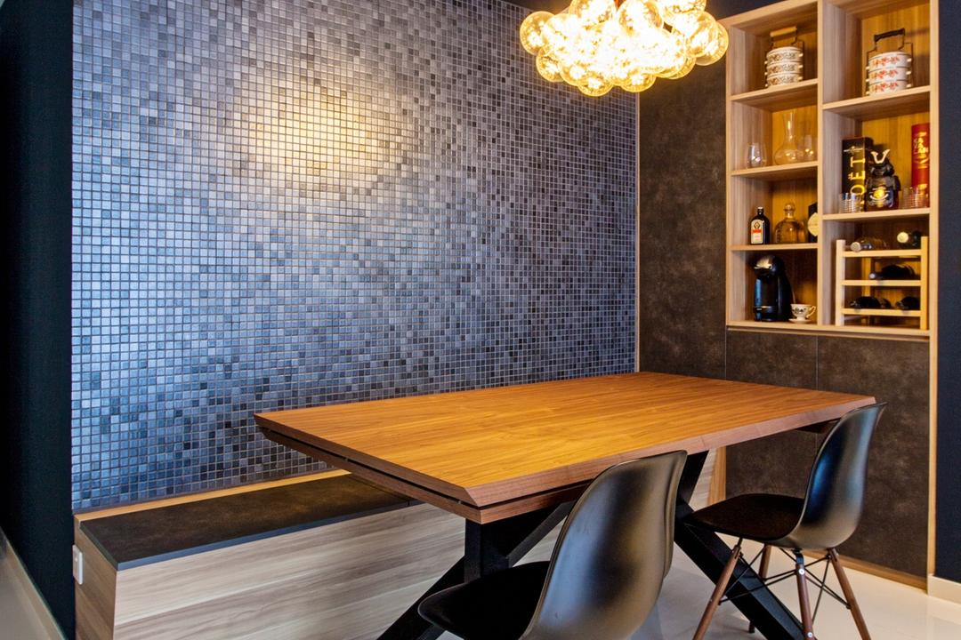 Twin Waterfalls, Third Avenue Studio, Contemporary, Dining Room, Condo, Mosaic Wall, Blue Mosaic, Pendant Lamp, Bench, Wall Bench, Settee, Dining Set, Wooden Dining Table, Chair, Furniture, Dining Table, Table, Indoors, Interior Design, Room