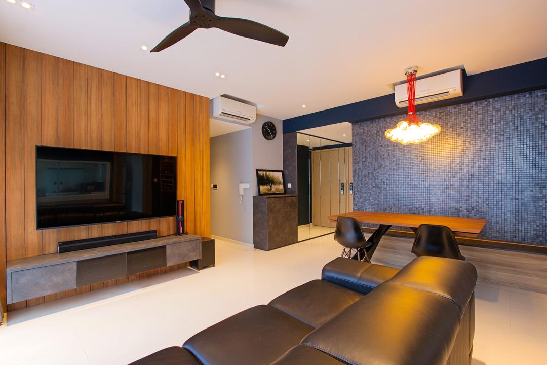 Twin Waterfalls, Third Avenue Studio, Contemporary, Living Room, Condo, Wooden Panel, Wooden Feature Wall, Ceiling Fan, Floating Console, Hallway, Leather Sofa, Appliance, Electrical Device, Microwave, Oven, Couch, Furniture, Indoors, Interior Design