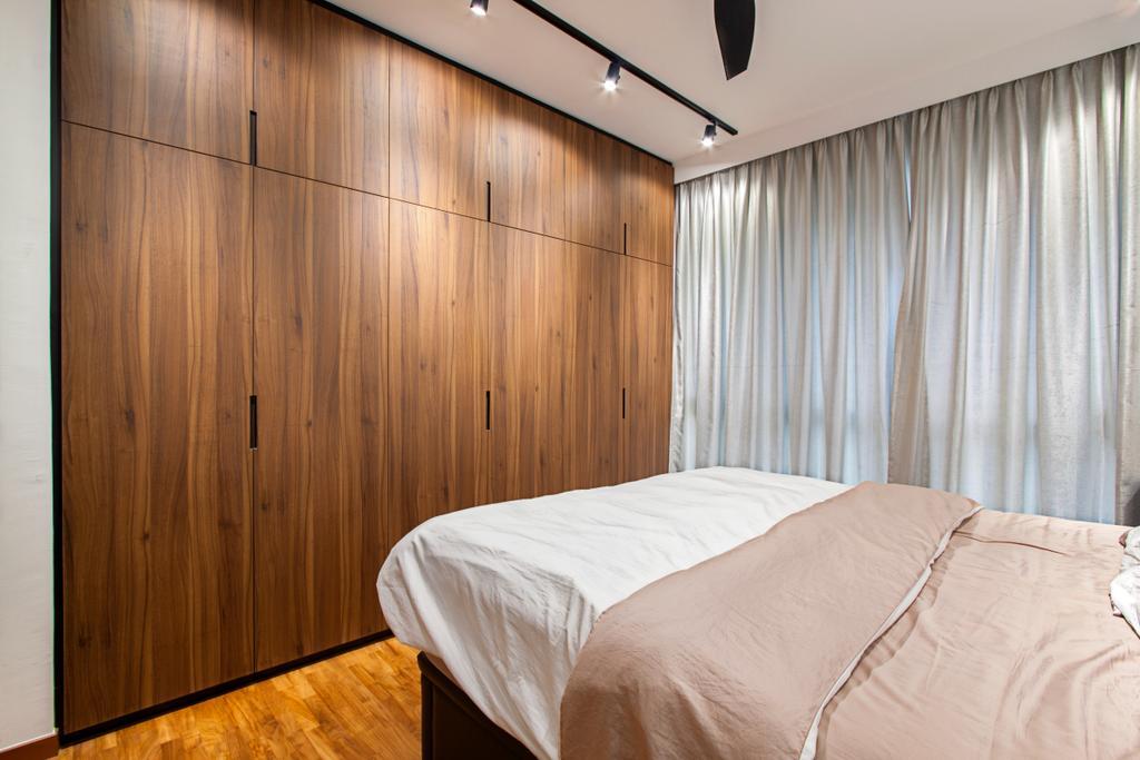 Contemporary, Condo, Bedroom, Twin Waterfalls, Interior Designer, Third Avenue Studio, Wardrobe, Cabinet, Knobless, Dark Wood, Bed, Furniture