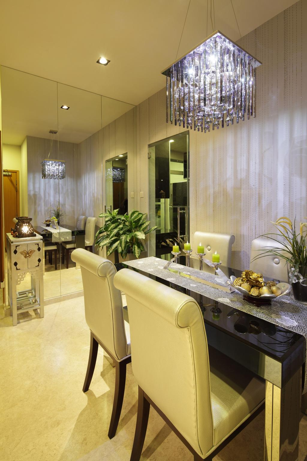 Transitional, Condo, Dining Room, 33 Mangis Road, Interior Designer, Space Define Interior, Mirror, Full Length Mirror, Dining Table, Table, Chair, Marble Flooring, Side Table, Lamp, Chandelier, Stripe Wall, Stripes, Wallpaper, Flora, Jar, Plant, Potted Plant, Pottery, Vase, Sink, Indoors, Interior Design, Room