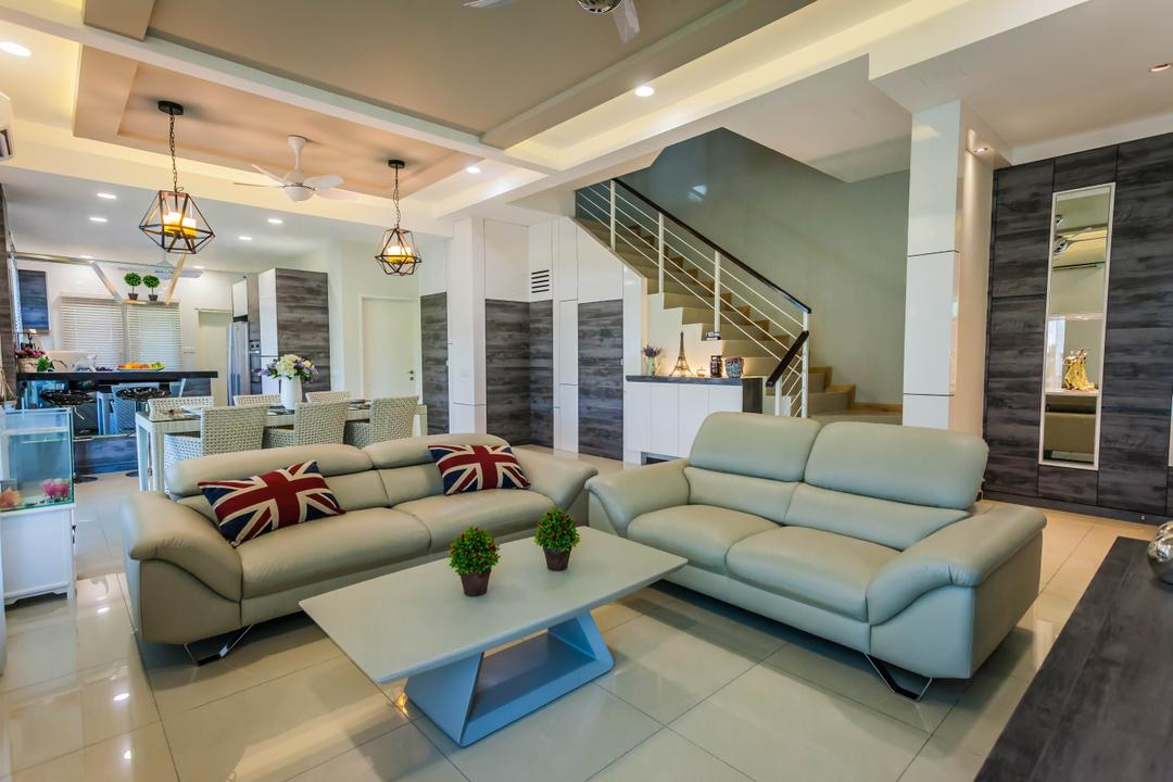 Southbay Residence, Zeng Interior Design Space, Contemporary, Living Room, Landed, Sofa, Leather Sofa, Coffee Table, Cushions, Union Jack, Pendant Lamp, Industrial Style Lamp, Hanging Lamp, Ceiling Fan, Airy, Plants, Plant Decor, False Ceiling, Couch, Furniture, Indoors, Interior Design, Room