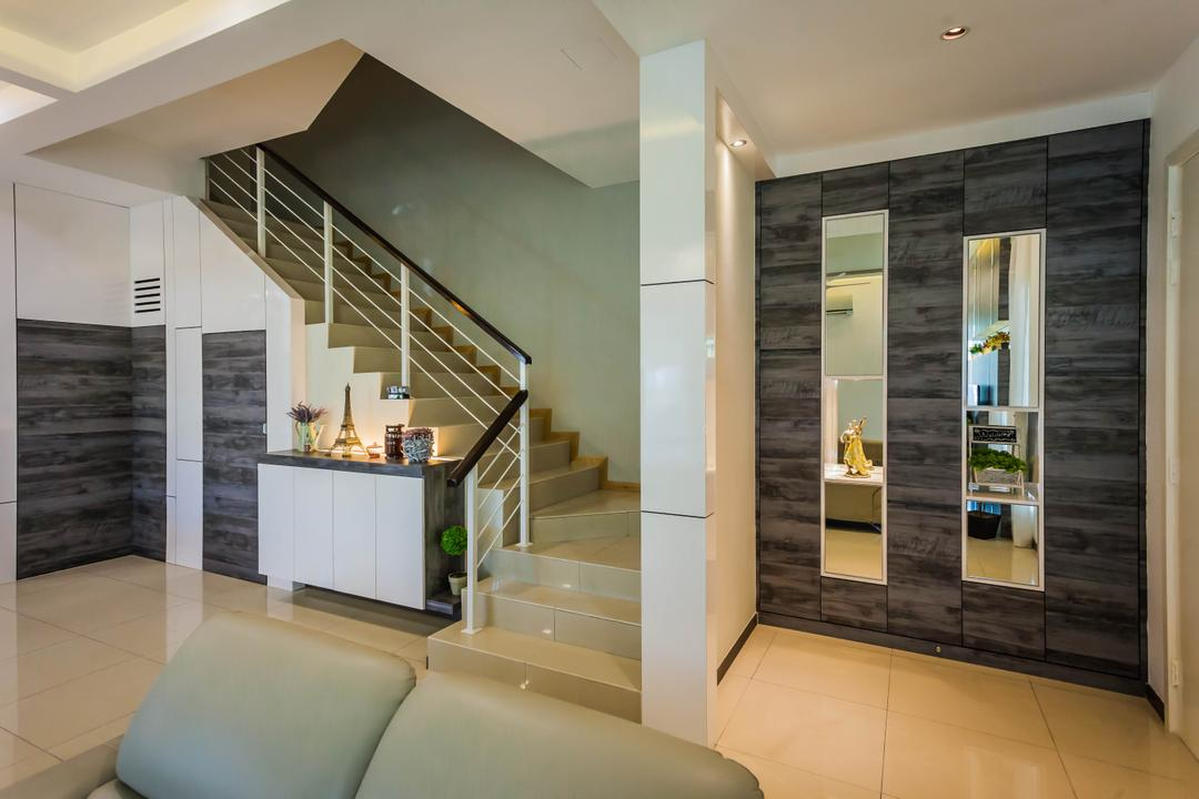 Southbay Residence, Zeng Interior Design Space, Contemporary, Living Room, Landed, Shelves, Shelving, Staircase, Store Room, Stairs, Side Cabinet, Indoors, Interior Design, Furniture, Reception