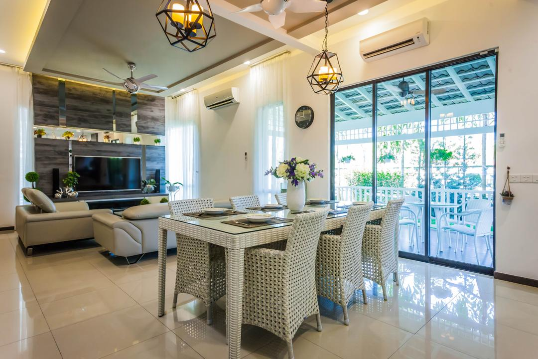 Southbay Residence, Zeng Interior Design Space, Contemporary, Dining Room, Landed, Dining Table, Dining Chairs, Woven Chair, Pendant Lamp, Hanging Lamp, Industrial Style Lamp, Caged Lamp, Aircon, Flowers, Vase, Balcony Furniture, Indoors, Interior Design, Room, Electronics, Entertainment Center