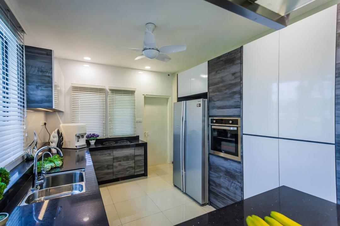 Southbay Residence, Zeng Interior Design Space, Contemporary, Kitchen, Landed, Kitchen Cabinet, Cabinetry, Refrigerator, Ceiling Fan, Oven, Built In Oven, Kitchen Sink, Sink, Appliance, Electrical Device