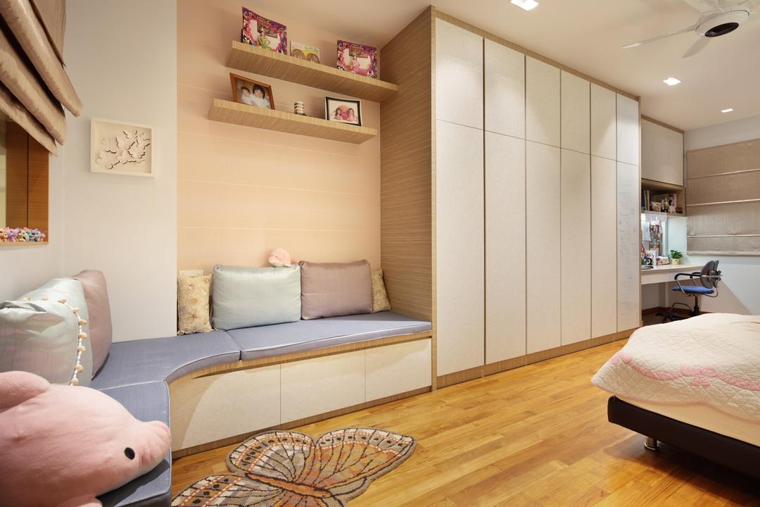 22 Sunbird Road, Space Define Interior, Traditional, Bedroom, Landed, Kids, Kids Room, Window Seat, Blinds, Wall Art, Rug, Pastel Tones, Shelf, Shelves, Closet, Wardrobe, Ceiling Fan, Parquet, Wood, Laminate, Wood Laminate, Couch, Furniture, Bed
