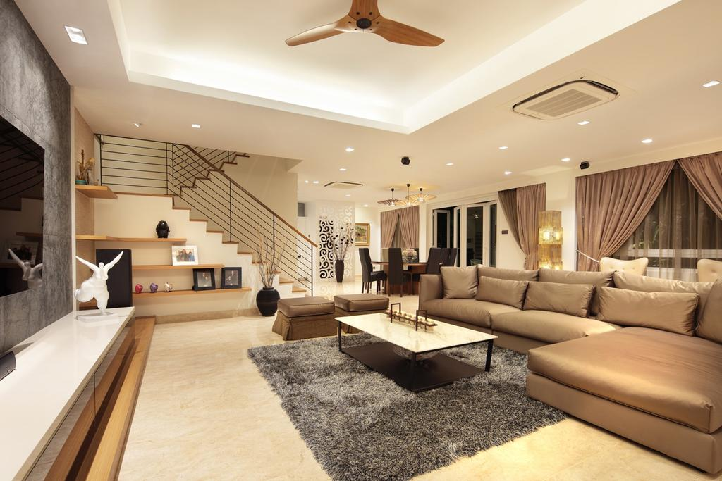 Traditional, Landed, Living Room, 22 Sunbird Road, Interior Designer, Space Define Interior, Rug, False Ceiling, Ceiling Fan, Concealed Lighting, Coffee Table, Table, Sofa, Chair, Tv Console, Stairs, Staircase, Railing, Shelf, Shelves, Curtains, Stools, Marble Flooring, Handrails, Indoors, Interior Design, Couch, Furniture