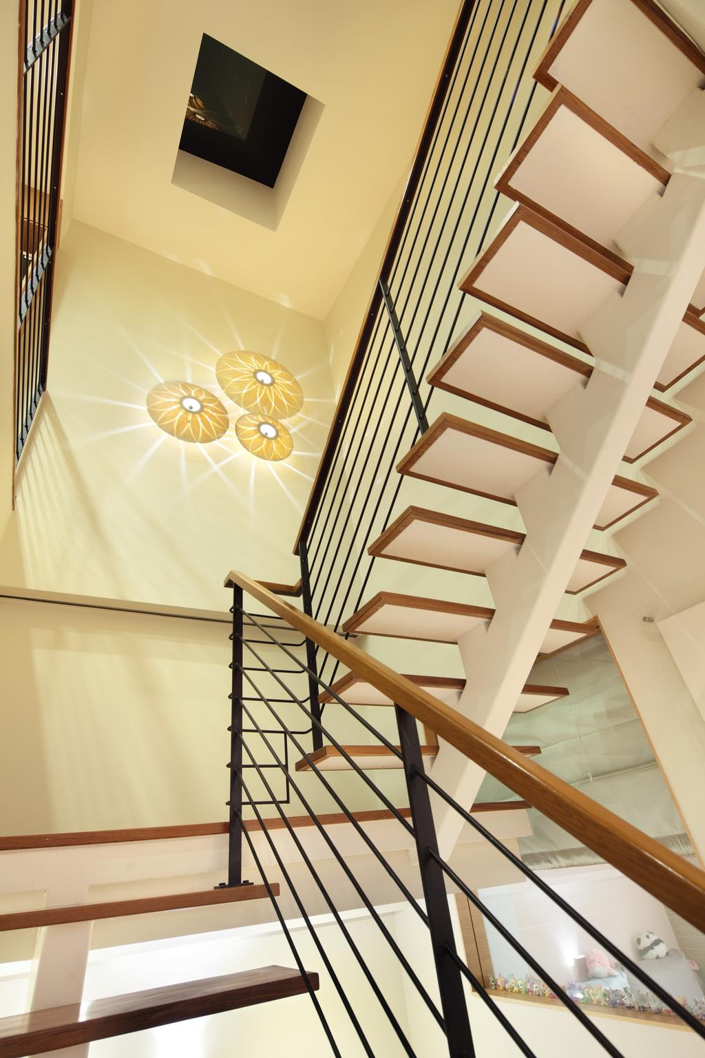 Traditional, Landed, 22 Sunbird Road, Interior Designer, Space Define Interior, Railing, Stairs, Staircase, Handrails, High Ceiling, Wall Lamp, Wall Art, Banister, Handrail